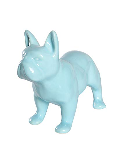 Nayothecorgi Ceramic Dog Statue - Standing French Bulldog (Shiny Blue)