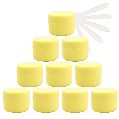 TIANZD 12 Stück 50 mlGelbKunststoff Leere Schraubdose Dosen Gel Tiegel 50g Cremedose Leerdose Kosmetische Salbe Behälter Kosmetikbehälter Töpfe, 5 StückLöffel