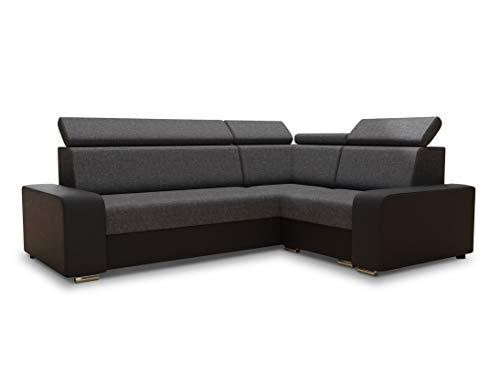 Ecksofa Pedro mit Schlaffunktion - Sofa mit Bettkasten und einstellbare Kopfstützen Couch Wohnlandschaft Polsterecke Bettsofa (Schwarz + Dunkelgrau (Soft 011 + Sawana 05))