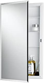 Jensen 781061 Builder Series Frameless Medicine Cabinet with Beveled Edge Mirror, 16-Inch by 26-Inch by 3-3/4-Inch