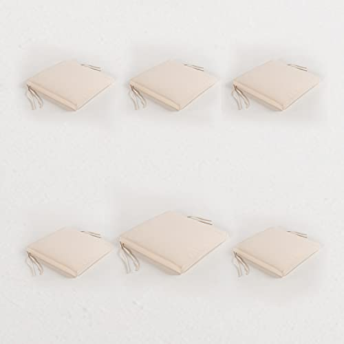 Edenjardi Pack 6 Cojines para sillas de jardín Color Beige | Tamaño 44x44x5 cm | Repelente al Agua | Desenfundable | Portes Gratis