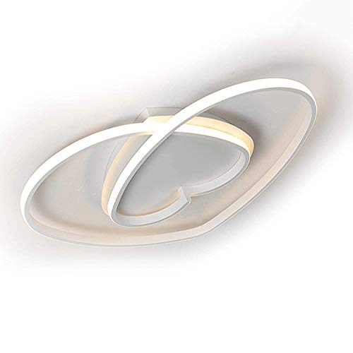 Dimmbar Schlafzimmer Deckenleuchte LED Schlafzimmerlampe aus Alu im Weiß Herzförmig, Modern Designer Deckenlampe, Ideal Decke/Wand Dekor Leuchte für Wohnzimmer Kinder Zimmer, 36W, Inkl. Fernbedienung