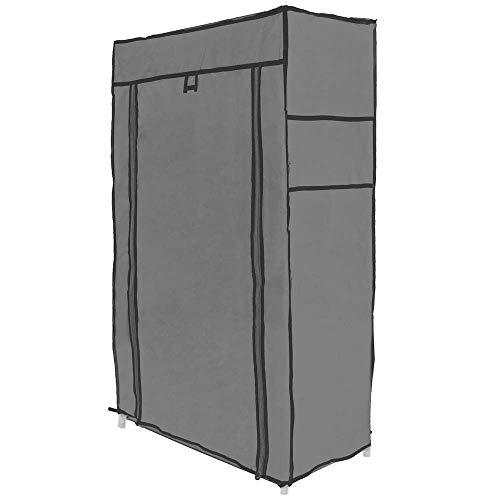 PrimeMatik - Armario ropero y Zapatero de Tela Desmontable 60 x 30 x 108 cm Gris con Puerta Enrollable