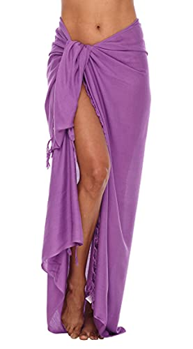 Shu-Shi Womens Beach Cover Up Sarong Swimsuit Cover-Up Many Solids Colors to choose,Medium Purple,One Size