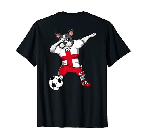 Dabbing French Bulldog England Soccer Fans Jersey Football T-Shirt