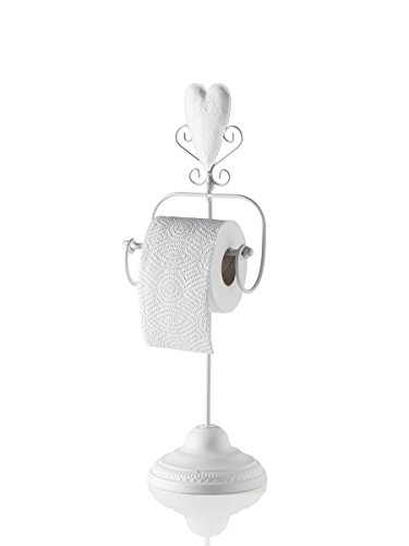 MONTEMAGGI Porta Carta igienica da Terra in Ferro Bianco con Cuore in Stile Shabby Chic provenzale. Il Porta Carta igienica è Decorato con Un Cuore e dei riccioli e ha Dimensioni 17x15x50 cm.
