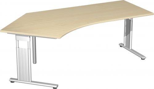 Schreibtisch Freiform 135° links, höhenverstellbar BxTxH 216,6x113x68-82cm Ahorn/Silber