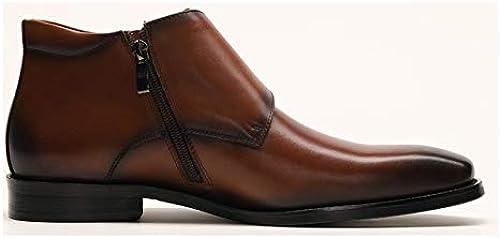 Qiusa botas de Cuero Genuino para Hombre botas Laterales con Cremallera Soft Sole Comfort Antideslizantes (Color   marrón, tamaño   EU 40)