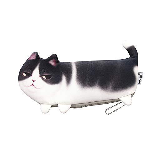 POWERTOOL Mäppchen mit Katzenmotiv, 3D, süßes Katzen-Federmäppchen, Make-up-Kosmetiktasche, Clutch, tragbare Schlüsselmünze, Geldbörse (schwarz)