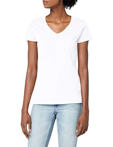 Fruit of the Loom Damen T-Shirt Valueweight V Neck Lady-fit, Weiß (Weiß 30), X-Large