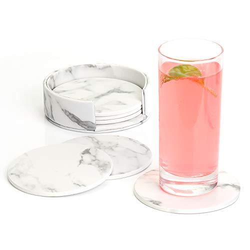 EKKONG Premium Leder Glasuntersetzer mit Halter 6-er Set Tassenuntersetzer Geschäftsuntersetzer für Bar Büro Zuhause Marmor (Weiß)