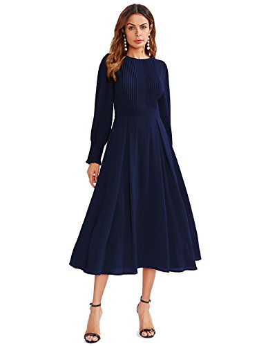 Milumia Women's Elegant Frilled Long Sleeve Pleated Fit & Flare Dress Small Navy