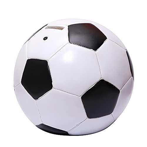 LUYTW Hucha de fútbol, niños, Moneda, Mejor Regalo for los Amantes del fútbol, Ornamentos de Resina bancaria de divisas, Blanco y Negro (tamaño : 7.1x7.1x6.7 Inch)