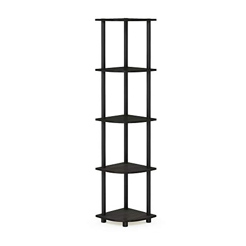 Furinno Turn-N-Tube 5 Tier Corner Shelf, Espresso/Black