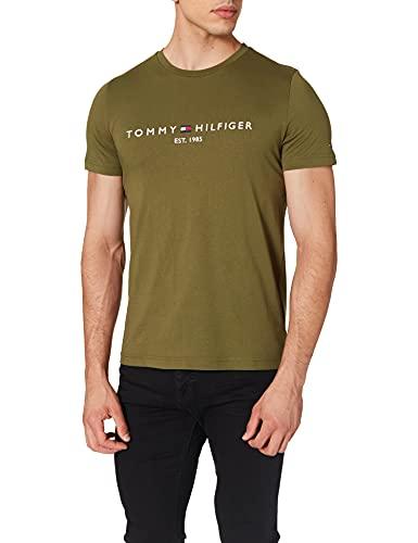Tommy Hilfiger Organic Cotton Logo T-Shirt Camiseta, Putting Green, M para Hombre
