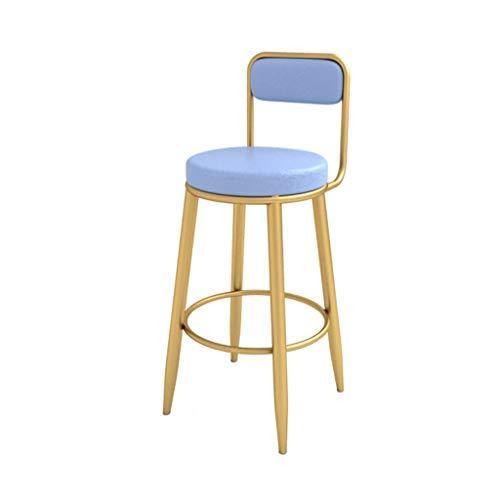 Taburetes de Bar, taburetes de mostrador de Espalda Alta para la Cocina, taburetes Altos de Bar, Patas metálicas Doradas, sillas de Comedor tapizadas para el Ocio, cojín de Cuero de PU, Azul