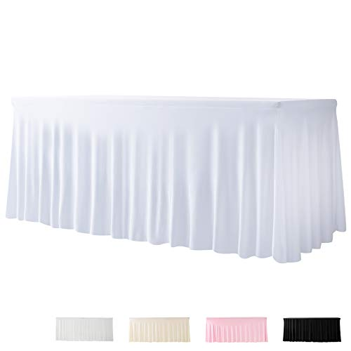 Spandex Table Skirts White for Rectangle Tables 6ft and Fitted Tablecloth 1 Piece Fitted Table Covers for 6 Foot Tables Wrinkle Resistant Table Skirt for Birthday Party, Events, Banquette Baby Shower