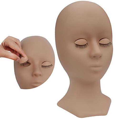 Eyelash Mannequin Head Silicone Training Model Head with Movable eyelids and Eyelashes, which can be Used for Eyelash Exercises, Makeup Exercises, and Skin with Realistic Skin Tone-Light Brown