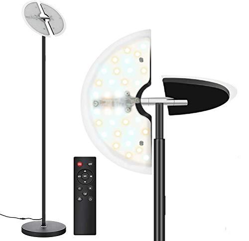 Svater Stehlampe LED Dimmbar, 30W Stehleuchte Dimmbar, Deckenfluter mit Verstellbare Leselampe, 3 Farbtemperaturen, mit Fernbedienung, Berühren Sie die Taste, für Wohnzimmer Büro Schlafzimmer