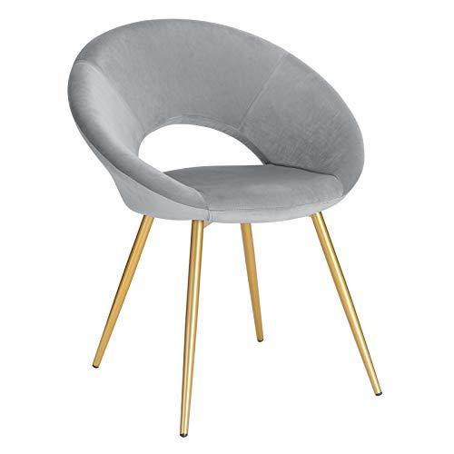 WOLTU® Esszimmerstuhl BH230hgr-1 1 Stück Küchenstuhl Polsterstuhl Wohnzimmerstuhl Sessel, Sitzfläche aus Samt, Gold Metallbeine, Hellgrau