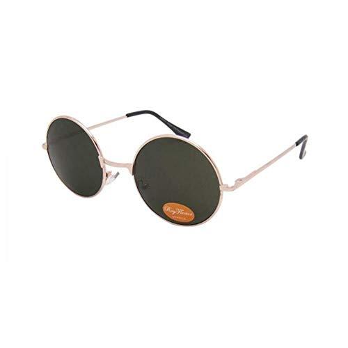 CHICNET Hochwertige Damen Herren Sonnenbrille Rundglas Hippie John-Lennon Brille 400UV rund, runde Gläser, langer Steg, aus Metall und Acryl, verspiegelt und getönt (grün)