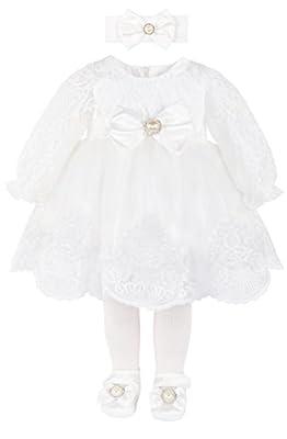 T.F. Taffy Taffy Baby Girl Newborn Christening Baptism, White, Size 0-3 Months