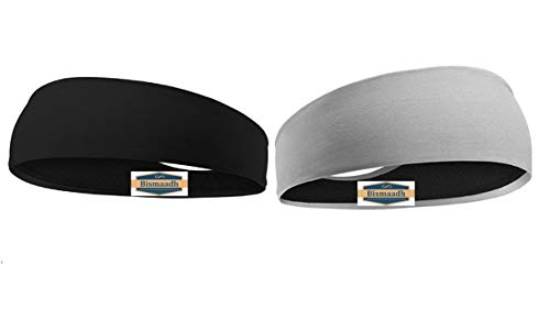BISMAADH Headbands Reversible Double Side Sweatband for Men & Women-Sweat Bands for Running/Fitness/Yoga/Workout/Gym-Performance Stretch & Moisture Wicking with Sweatband Black & Grey (Pack of 2)