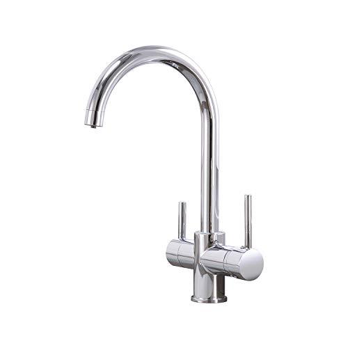 Casavilla 3 Wege Wasserhahn Küche,360° Drehbar Küchenarmatur,Einhebel Mischbatterie aus Edelstahl, 3 in 1 Wasserhahn für Wasserfilter, Trinkwasserhahn mit Doppelhebel.3/8 Adaptern