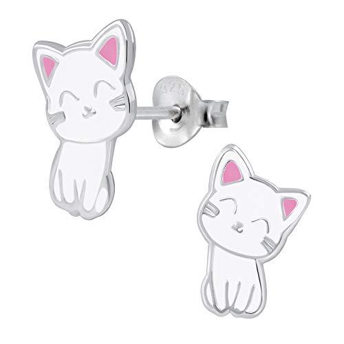 FIVE-D, orecchini per bambini a forma di gatto, in argento 925, con custodia e Argento, colore: bianco, cod. SL-kinderohrstecker219-V