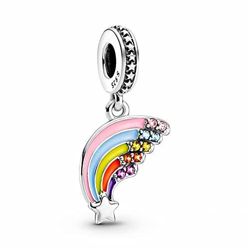 YYFHHK Colgante De Plata De Ley 925 con Dije De Arcoíris Colorido Apto para Pulsera Original De 3Mm para Mujer, Joyería De Moda De Cumpleaños, Cuentas De Regalo