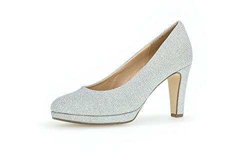 Gabor Damen Pumps, Frauen Plateaupumps,Soft & Smart, Brautjungfern Hochzeit Beerdigung Office-Pumps buero-Pumps Business-Schuhe,Silber,39 EU / 6 UK