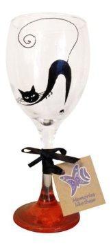 Orange 'Black Cat' Hand Painted 340ml Wine Glass by Memories-Like-These UK