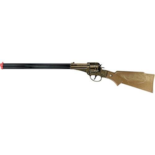 NET TOYS Fusil Frontier Scout 12 Coups 566 mm Noir-Marron Carabine Corps-francs Arme Texas Arme à Chargement par la Culasse Western Fusil Jouet shérif