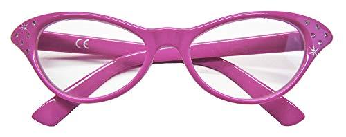 Das Kostümland - Fifties Cat Eye Brille Diamond - Lila - Zubehör 50er 60er Jahre Party Kostüm