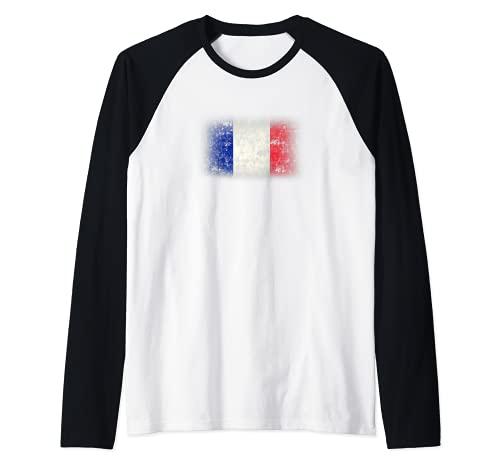 Bandera de Francia Drapeau France Tricolor Hombre Mujer Camiseta Manga Raglan