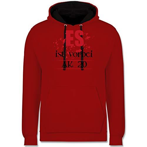Shirtracer Abi & Abschluss - ES ist vorbei - Abschluss 2020 - XS - Rot/Schwarz - abschluss Pullover 2018 - JH003 - Hoodie zweifarbig und Kapuzenpullover für Herren und Damen