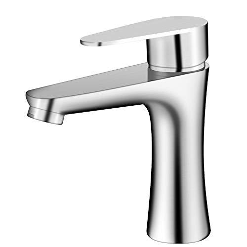 YJHome Grifería de lavabo, Grifo Mezclador Para Baño Grifo de Agua Fría y Caliente de Acero Inoxidable y Latón, Para Baño o Lavabo
