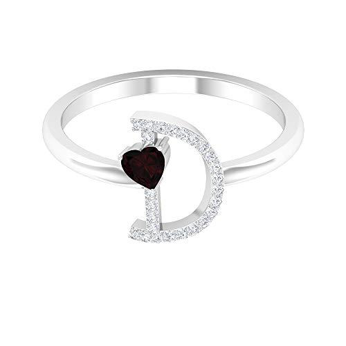 Anillo de granate en forma de corazón de 3,50 mm, anillo de diamante HI-SI letra D, oro alfabeto joyería (calidad AAA), 14K Oro blanco, granate, Size:EU 44