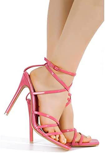 Cape Robbin Minnie Sexy Stiletto High Heels for Women, Strappy Square Open Open Toe Shoes Heels
