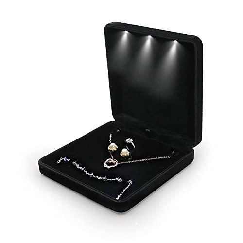 Joyero con luz LED Caja de Dedo Rong con Caja de empaquetado de joyería con luz LED Anillo de Diamante Pulsera Pulsera, Collar Caja,A
