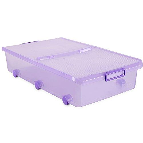 Tatay 1151113 Caja de Almacenamiento Multiusos Bajo Cama con Tapa y Ruedas, 63 l de Capacidad, Plástico Polipropileno Libre de BPA, Lila Translúcido, 45 x 78 x 18 cm