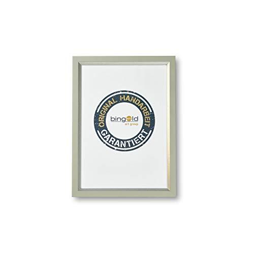 Bilderrahmen Melfi 2,0 Weiß Silber I DIN A3 (29,7 x 42,0 cm) mit Museumsglas (WRU) I handgefertigter Holz Fotorahmen Posterrahmen Urkundenrahmen I Leerrahmen Holz inklusive Montagematerial