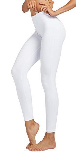 COOLOMG Damen Yoga Lang Hose Kompression Leggings Sport Trainingshose Weiß L