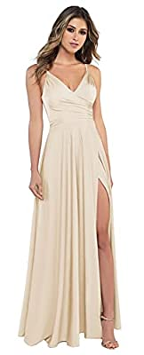 Miao Duo Women's Spaghetti Straps Bridesmaid Dresses with Pockets Long V Neck Split Formal Evening Dress for Wedding Guest Champagne 08