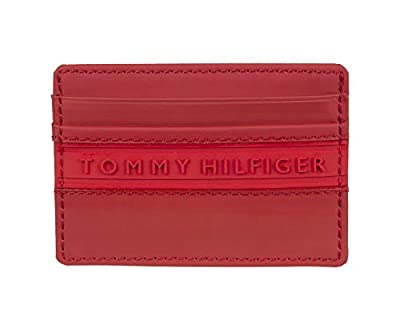 Tommy Hilfiger Men's Card Case Wallet, Neon Red, One Size