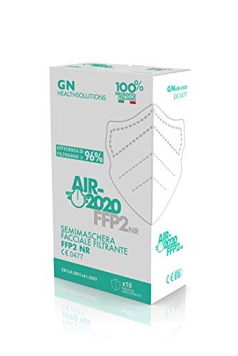 10 Pezzi - AIR-2020 - Mascherine FFP2 Certificate - Sistema Nasale Antiappannamento - Made in Italy - Confezionate singolarmente