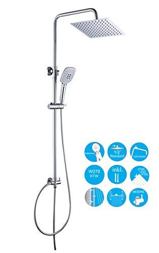 JOHO 304 Edelstahl Duschset Duschsystem Regenduschset mit Kopfbrause (Duschset mit Kopfbrause eckig 20x20cm)