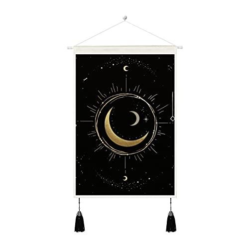 Tapiz de lino para colgar en la pared, diseño de la fase lunar con texto en inglés 'Moon Phase...