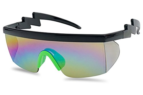 Large Wrap Around Rainbow Mirrored Semi Rimless Flat Top Shield Goggles Sunglasses (Black Green Frame | Rainbow Mirror)