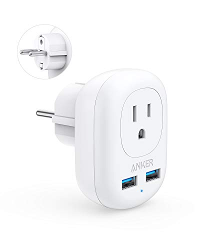 Anker European Travel Adapter, PowerExtend USB Plug International Power Adapter with 2 USB and 1 Outlet, US to Most of Europe EU Spain Iceland Italy France Germany